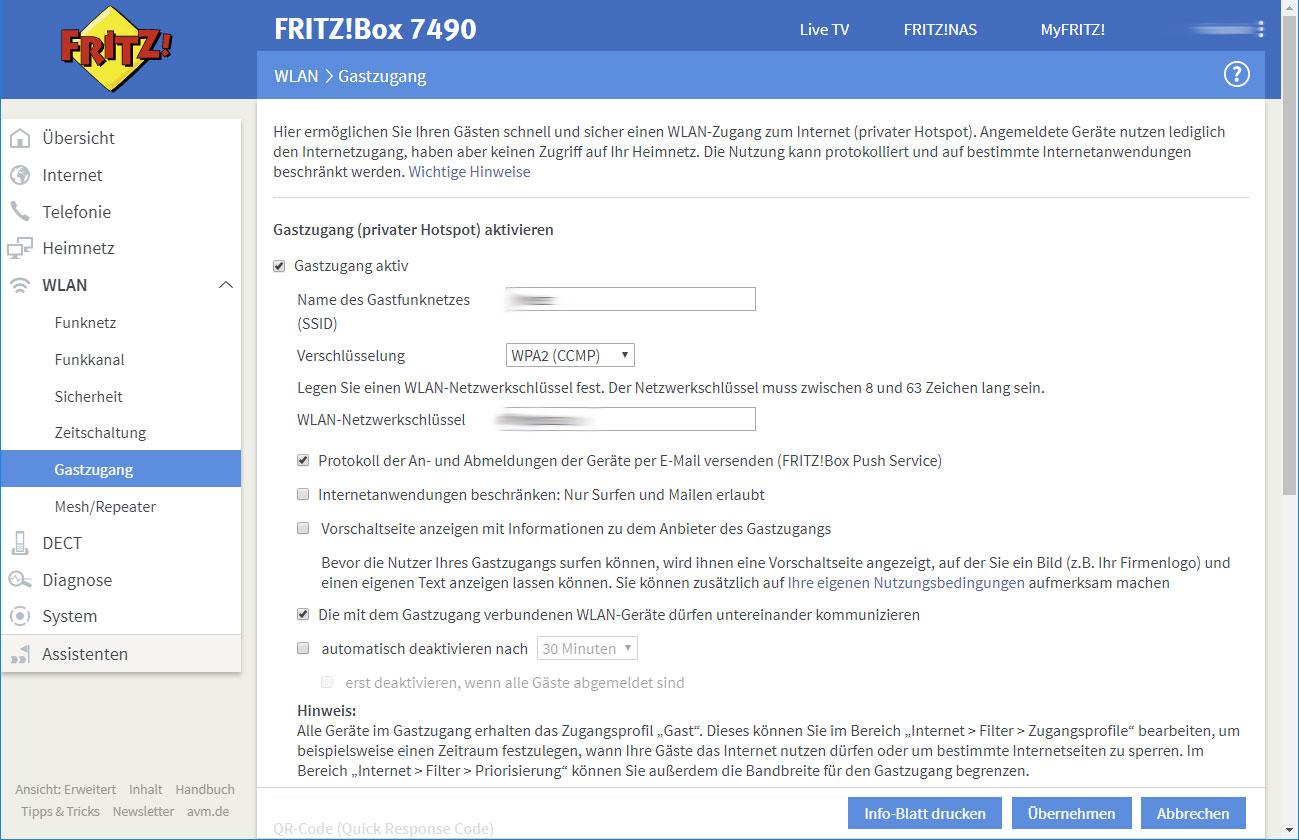 Fritzbox Gastnetz einrichten   Akku  und Roboter Staubsauger