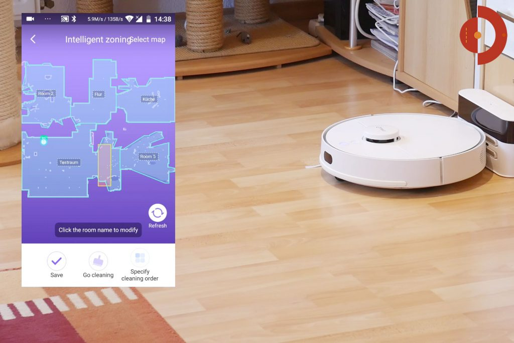 Roboter teilt Bereich in Wohnräume auf