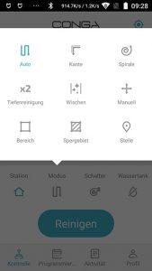 Cecotec-Conga-4090-AppTest-Hauptscreen-Modus