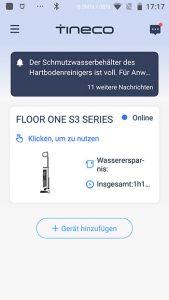 App-Waschsauger-Test-Tineco-Floor-One-S3-Startscreen