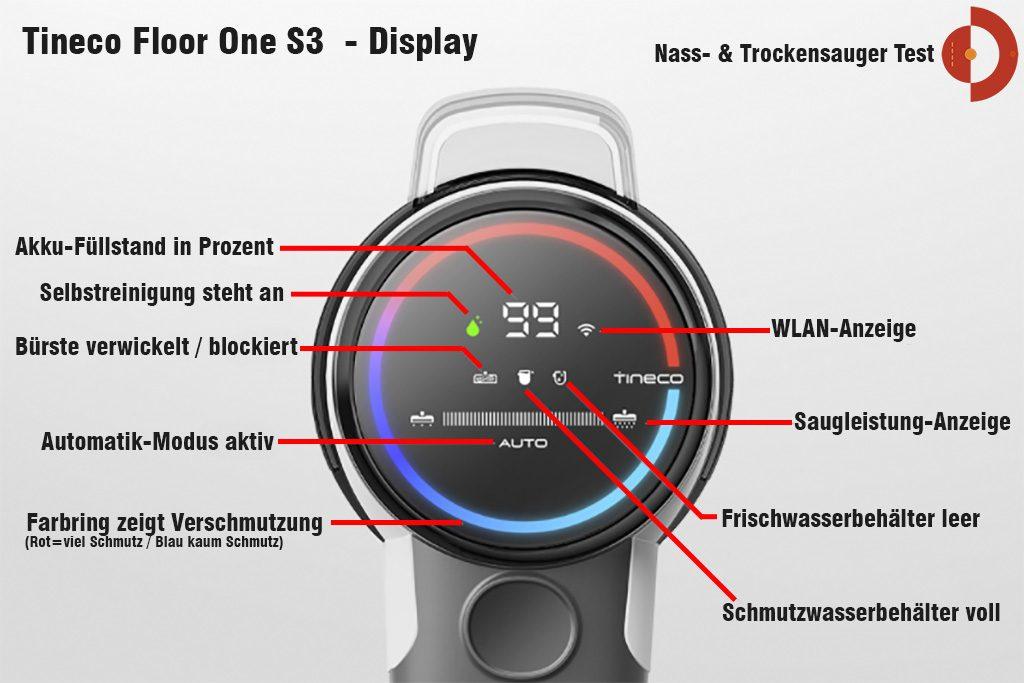Tineco-Floor-One-S3-Test-Nass-Trockensauger-Display