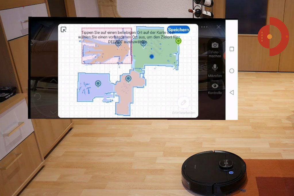 Deebot-Ozmo-T8-AIVI-Test-Kamera-Sichtweise-Zielpunkte-Raumueberwachung