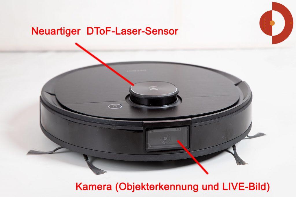 Ecovacs-Deebot-Ozmo-T8-AIVI-Test-vorn-1360--DToF-Laser-Sensor
