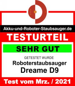 Dreame D9 Testergebnis