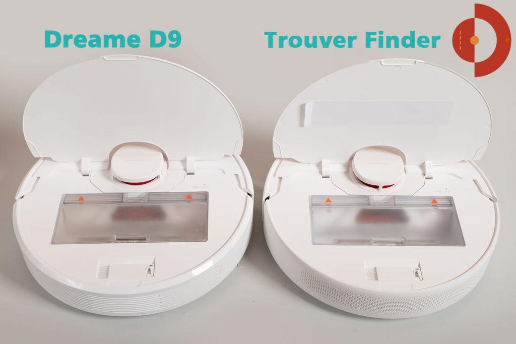Vergleich-Trouver-Finder-Dreame-D9-Schmutzfach